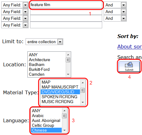 Library Catalogue advanced search, showing important fields
