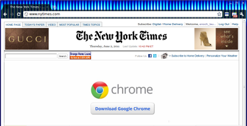 Chrome advertisement on NYTimes.com